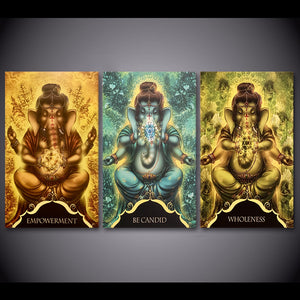Modern HD Print Modular Pictures 3 Piece Canvas Wall Art Whispers Of Lord Ganesha Painting