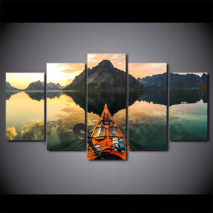 5 Piece Canvas Art HD Print Calm Lake Kayak On Water Painting For Living Room Wall