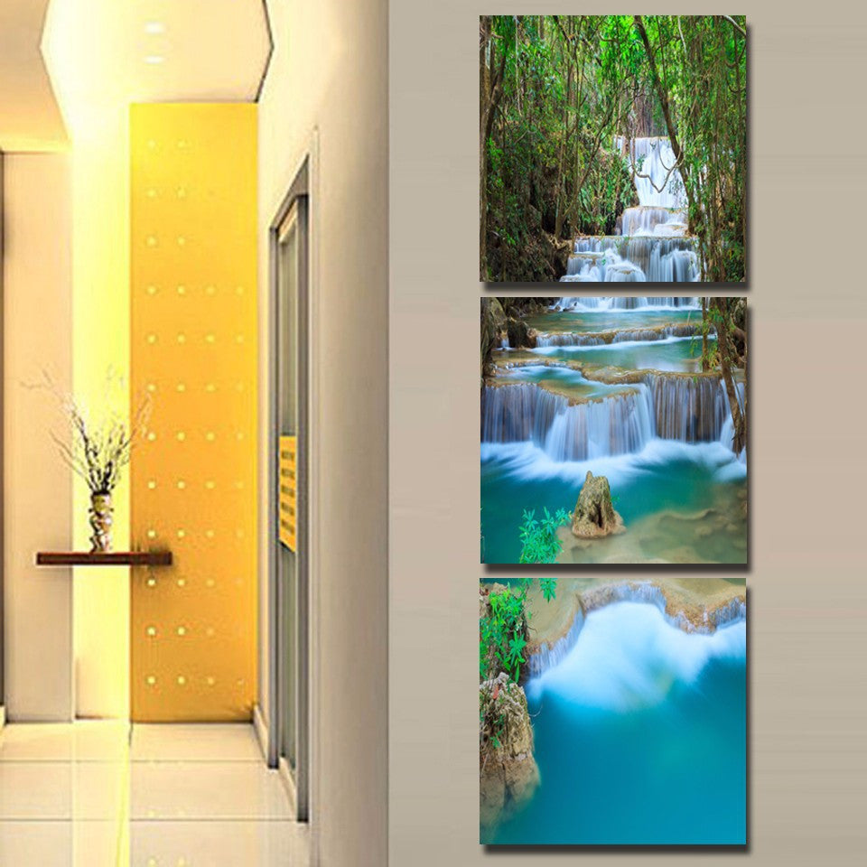 3 Panel Waterfull Tree Painting Picture Landscape Painting Canvas Art Giveaways Wall Sticker