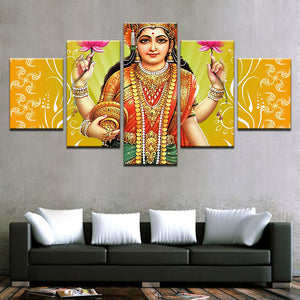 Canvas Wall Art HD Prints Pictures Home Decor 5 Pieces India Goddess Of Wealth Lakshmi Paintings