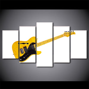 Printed 5 Piece Canvas Art Music Yellow Guitar Painting White Wall Pictures Modular Painting
