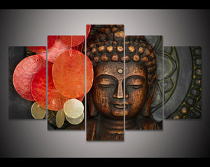 HD Print 5 Pieces Buddhism Buddha Canvas Wall Art Print Painting Canvas Decor Wall Art