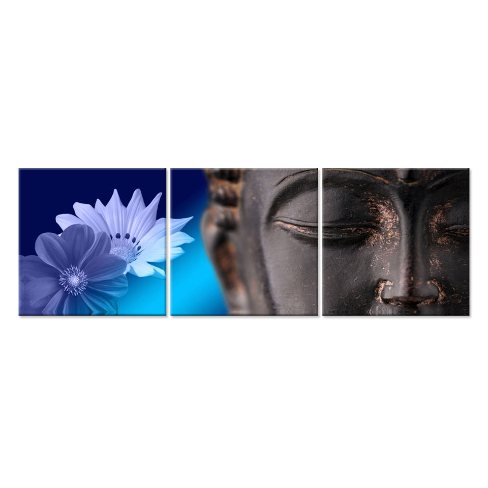 Canvas Wall Art Print Buddha Statue With Blue Flowers Wall Art Painting Pictures Print On Canvas