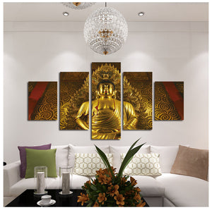 5 Panel Wall Art Prints Religious Style Buddha Oil Painting on Canvas Home Decor