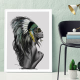 Indians Women Watercolor Feather Art Canvas Poster Painting Black White Minimalist Home Decor Picture