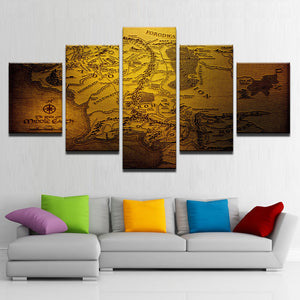 Modern Decor Canvas Painting Home Bedroom Wall Art 5 Map Pictures HD Printed Modular Poster