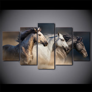 HD Printed 5 Piece Canvas Art Running Horse Painting Animal Wall Pictures