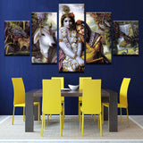 Canvas HD Prints Pictures 5 Pieces India Myth Krishna Vishnu Painting Wall Art Animal Poster