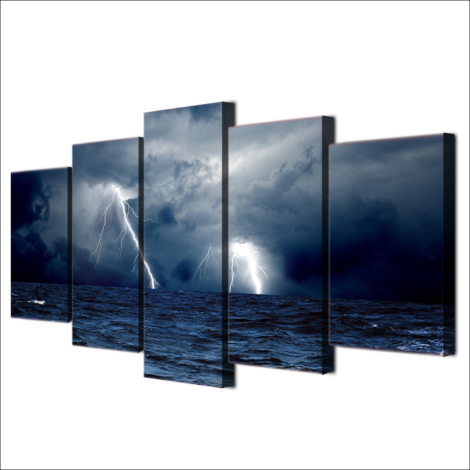 HD Print 5 Piece Canvas Cloud Waves Sea Ocean Storm Lightning Painting Seascape Painting