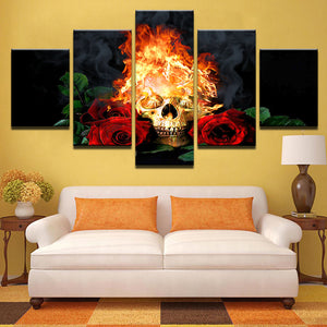 Modern Home Wall Art Decor Pictures HD Printed 5 Pieces Halloween Horror Skull  Painting On Canvas Art
