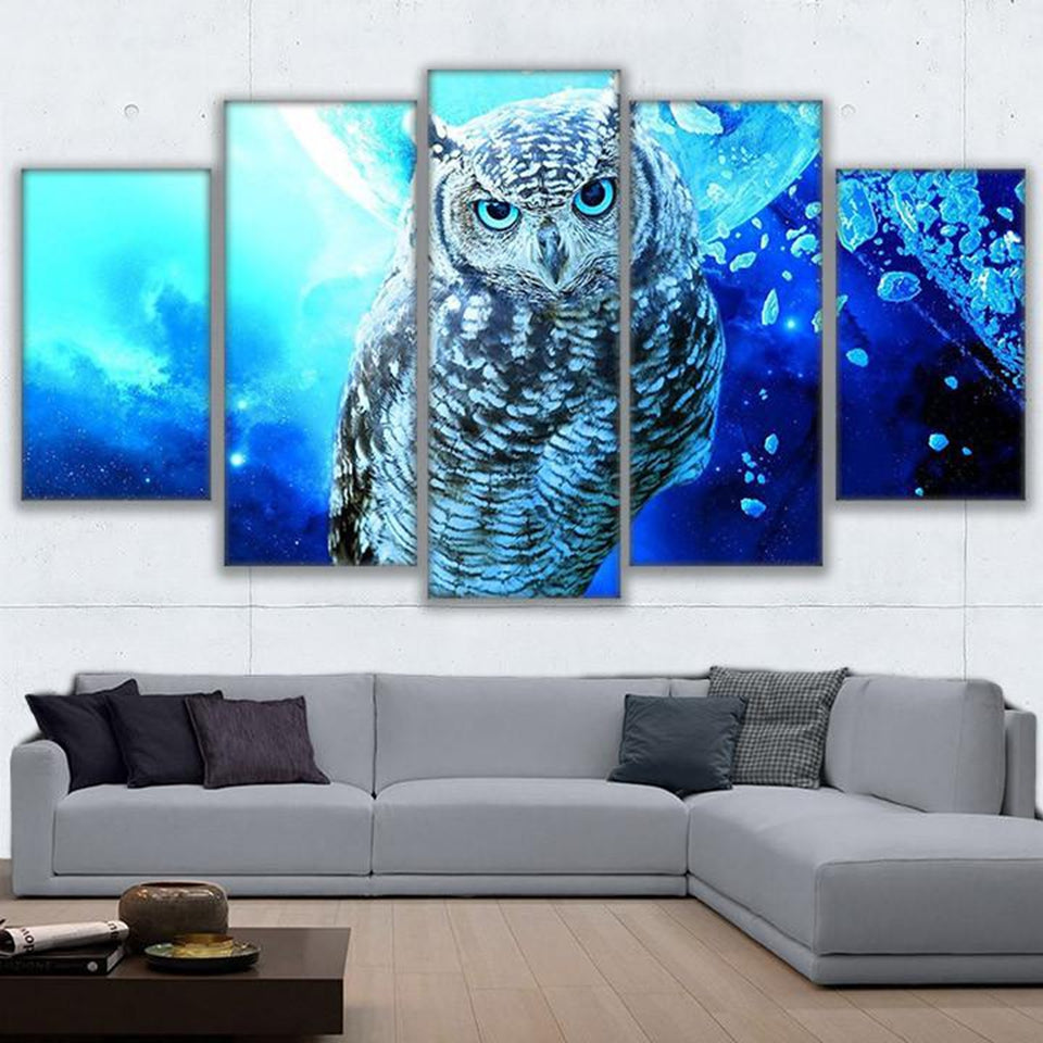 Canvas Paintings Wall Art Pictures 5 Pieces Blue Owl Pictures HD Prints Home Decor Animal Poster