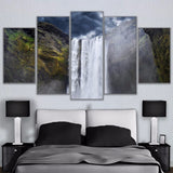 Canvas Painting Living Room Wall Art Prints Pictures 5 Pieces Cliff Mountain Waterfall Cloudy Landscape Poster