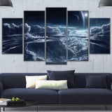 Poster Abstract Canvas Painting 5 Piece Cloudy Full Moon Landscape Pictures And Prints Wall Art