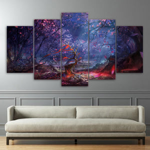 HD Printed 5 Piece Canvas Art Beautiful Forest Leaves Canvas Painting Wall Pictures Living Room