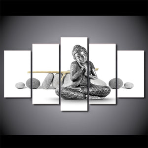 5 Pieces Canvas Paintings Printed Stone Buddha Wall Art Pictures Living Room Bedroom Modular