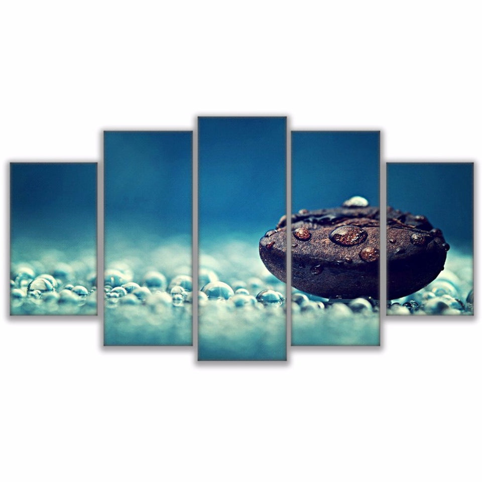 Wall Art Canvas HD Prints Landscape Painting Modular Poster 5 Pieces Coffee Bean Rain Water Drops Pictures