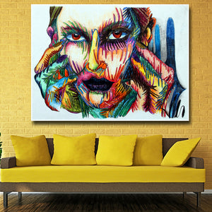 Canvas Painting Continuous Line Oil Painting Wall Art Pictures Colored Portrait Pictures Canvas Prints