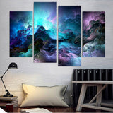 Painting 4 Piece Canvas Art Abstract Colors Blue Clouds HD Printed Wall Art Decor Poster Picture