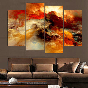 Canvas Painting 4 Pcs Art Abstract Colors Red Clouds HD Printed Wall Art Home Decor Poster Picture