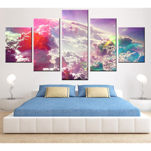 Framed Abstract 5 Panel Clouds Home Decor Canvas Print Painting Wall Art Picture