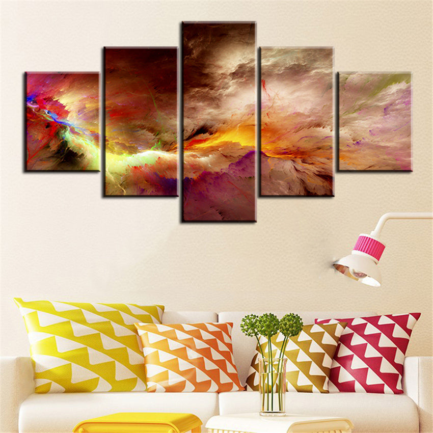 5 Pc Set Office And Studio Abstract Cloud Oil Painting Canvas Prints Wall Art Pictures
