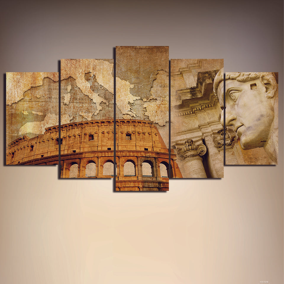 5 Panels Colosseum Map Abstract Oil Painting Printed Print HD Canvas Painting Wall Art Paint