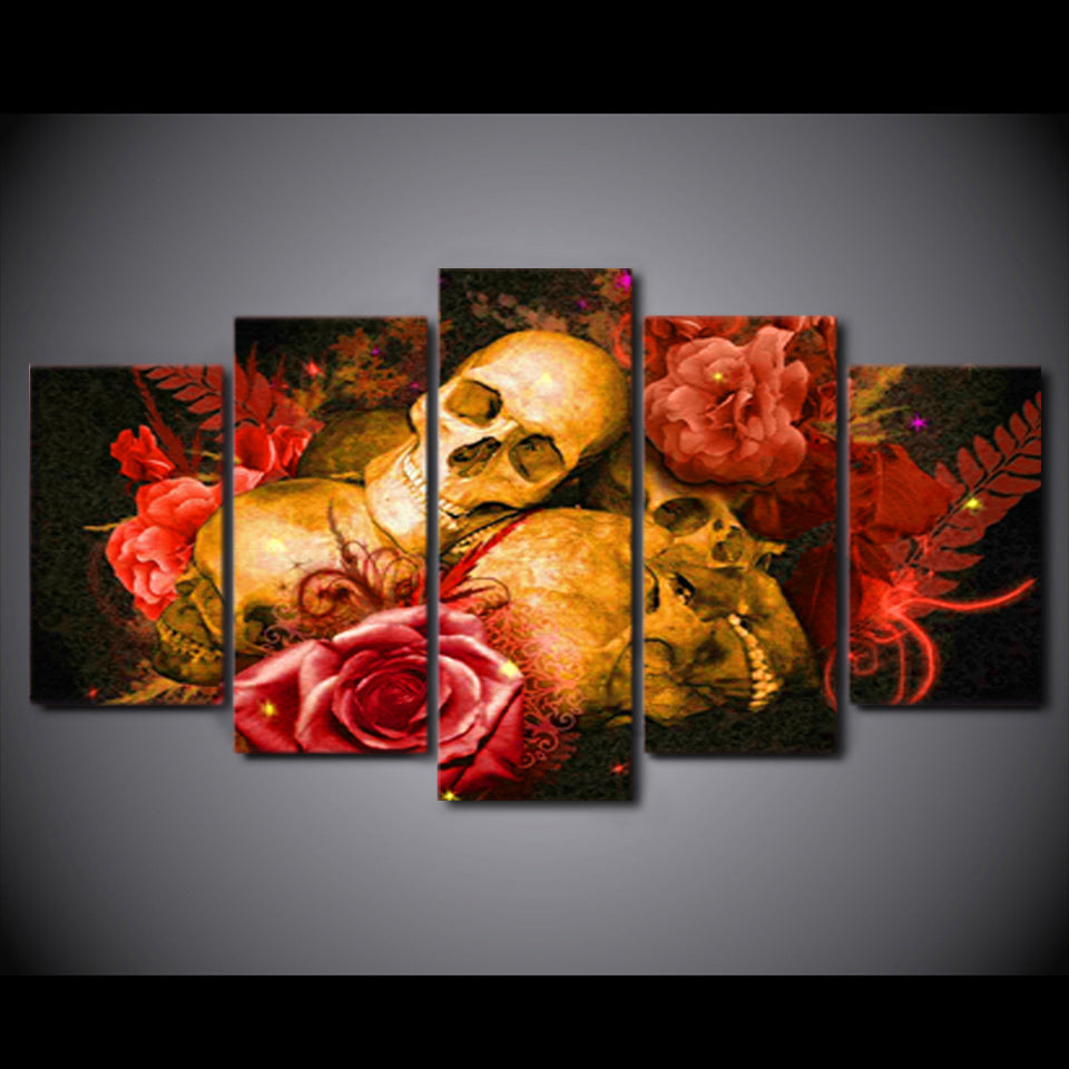 HD Printed 5 Piece Canvas Art Abstract Skull Painting Red Rose Wall Pictures