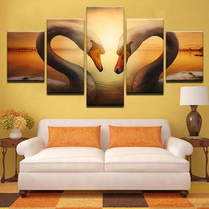 Canvas Painting Wall Art HD Prints 5 Pieces Swans Lovers Sunset Poster Love Heart Pictures