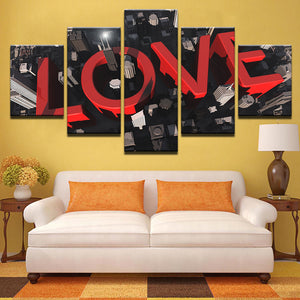 Modular Canvas Wall Art HD Prints Poster 5 Piece Love City Painting Red Letters Love Quote Picture