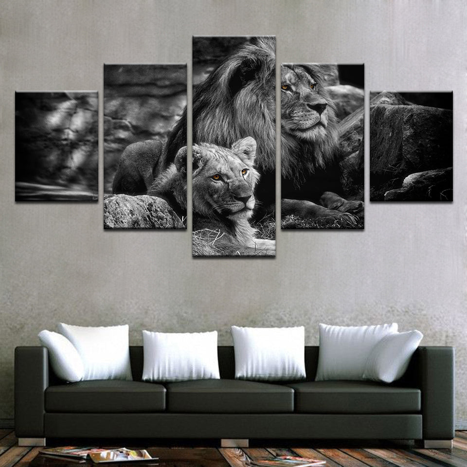 Modular Canvas Wall Art Printed Poster 5 Pieces Black White Animal Pictures  King Of The Forest