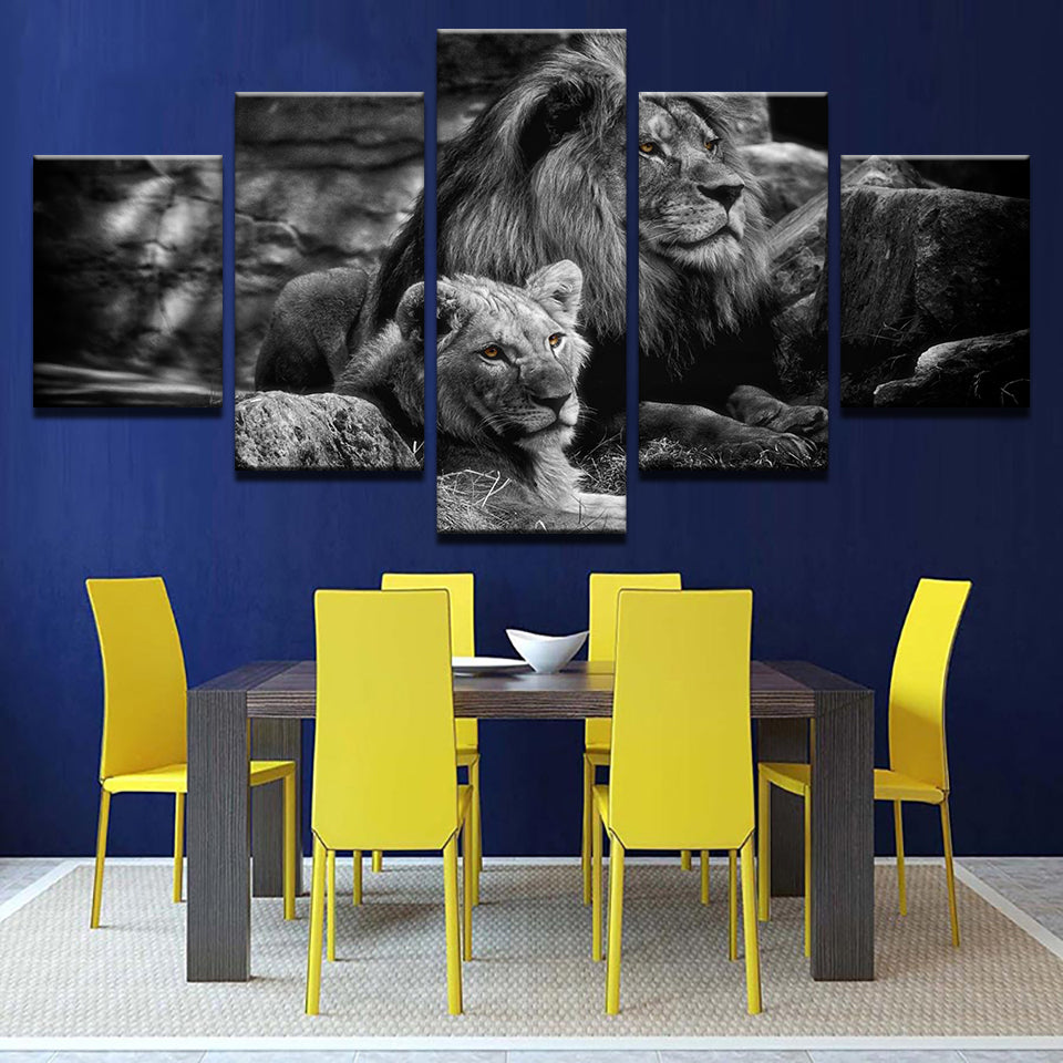 Modular Canvas Wall Art Printed Poster 5 Pieces Black White Animal Pictures King Of The Forest Lions Painting