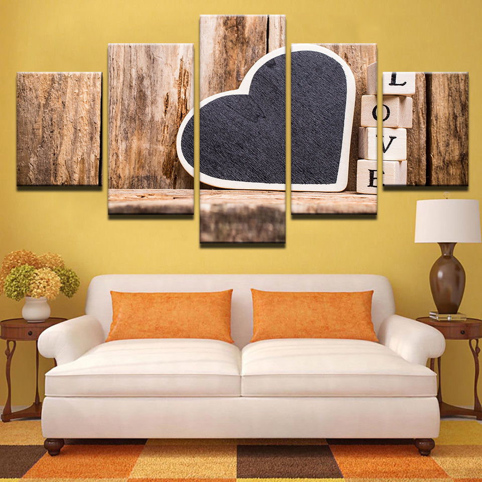 Modern Canvas Pictures HD Prints LOVE Quote Poster 5 Pieces Love Heart Painting Wall Art
