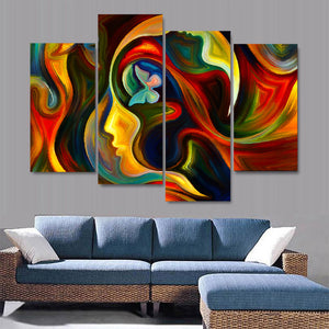 4 Piece Canvas Art HD Print Abstract Poster Girl Artwork Painting Living Room Wall