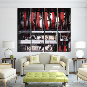 Canvas Paintings Printed 4 Pieces Fireman Fire Equipment Wall Art Canvas Pictures Living Room Modular