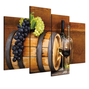 4 Piece Canvas Painting Grape Glasses Wine Barrels HD Posters And Prints Painting