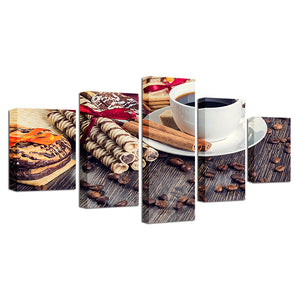 Canvas Painting HD Prints 5 Pieces Coffee Bean Cup Pictures Kitchen Food Coffee Dessert House Wall Art Poster