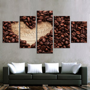 Canvas Paintings Wall Art Modern 5 Pieces Love Coffee Posters HD Prints Coffee Bean Pictures
