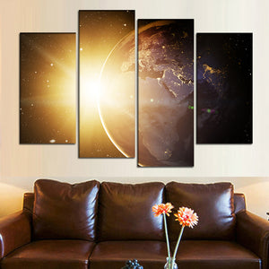 4 Pieces Wall Art Canvas Sunlight Painting Planet Earth Poster Space Picture HD Canvas Print Custom