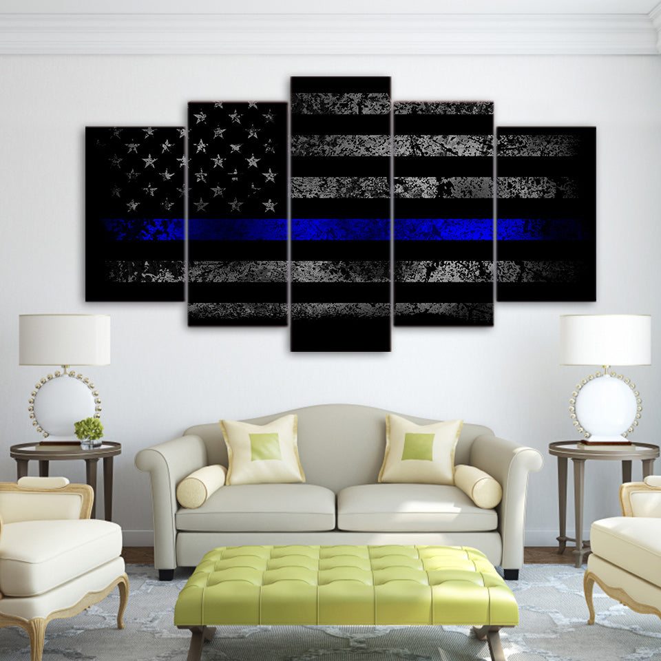 5 Piece Canvas Art HD Print Thin Blue Line American Flag Picture Paintings Living Room Wall