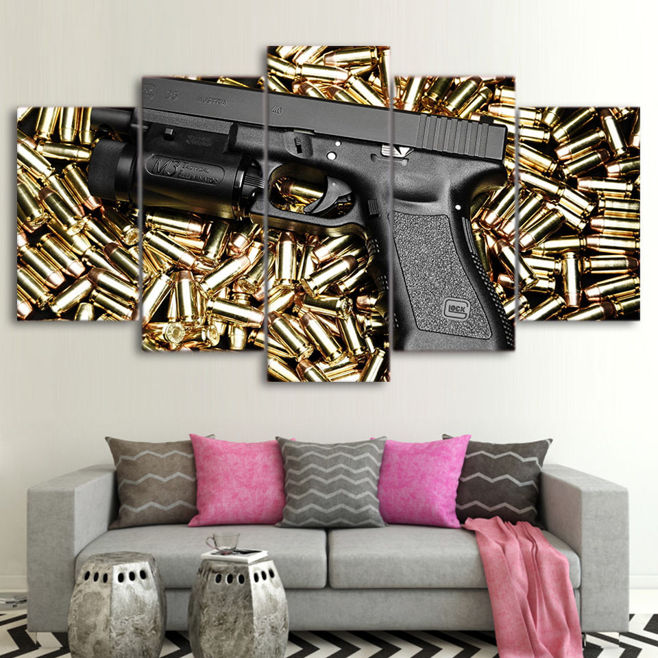 5 Piece Canvas Art HD Print Gun Bullets Home Decor Paintings Living Room Wall