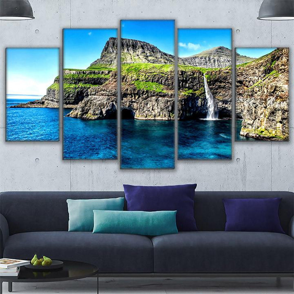 HD Prints Canvas Wall Art Pictures Landscape Poster 5 Piece Paradise Is An Island Alpine Waterfall Painting