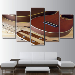 HD Printed 5 Piece Canvas Art Wooden Guitar Painting Vintage Framed Modular Wall Pictures