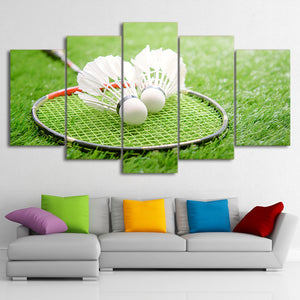 HD Printed 5 Piece Canvas Art Badminton Racket Painting Gym Sport Poster Wall Pictures