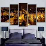 HD Prints Painting Wall Art Canvas Poster 5 Piece Prague Busy Streets Landscape Pictures
