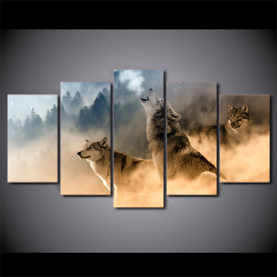 Perfect HD Printed 5 Piece Canvas Art Howling Wolf in Clouds Painting  HK31