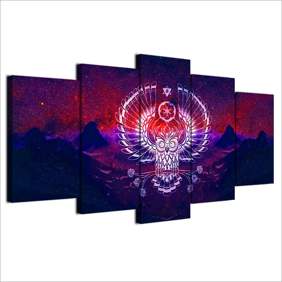 HD Printed 5 Piece Canvas Art Abstract Owl Painting Modular Psychedelic