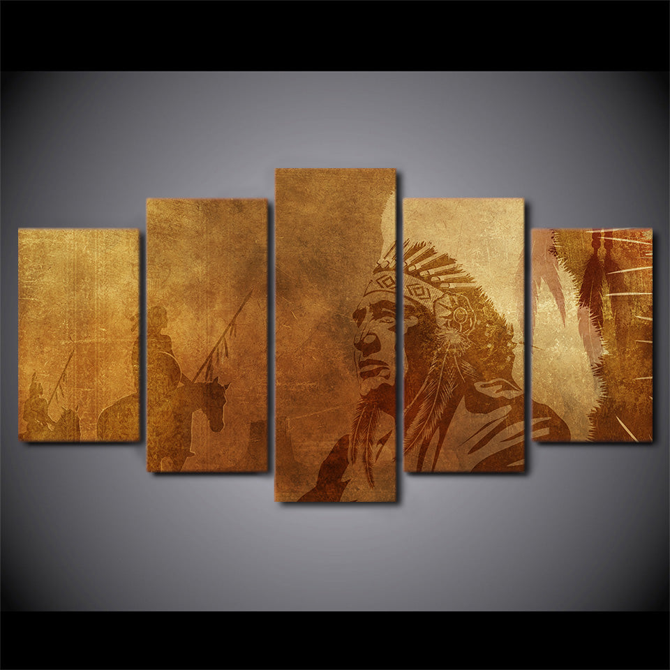 HD Printed 5 Piece Canvas Art American Indian Man Painting Modular Wall Pictures
