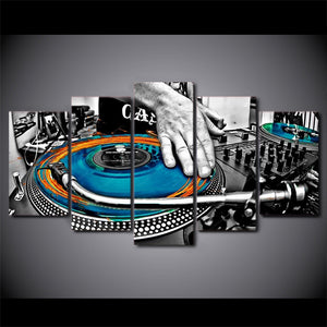 HD Printed 5 Piece Canvas Art DJ Music CD-ROM Painting Modular Wall Pictures