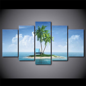 5 Piece HD Print Wall Art Canvas Painting Tropical Island Posters And Prints Coconut Grove