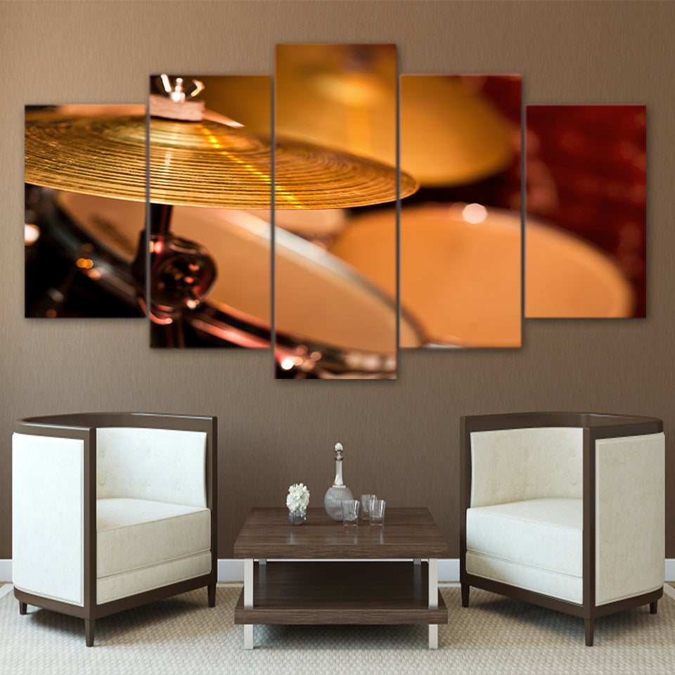 HD printed 5 piece Canvas Art Drum Painting Music Instrument Framed Vintage Wall Picture